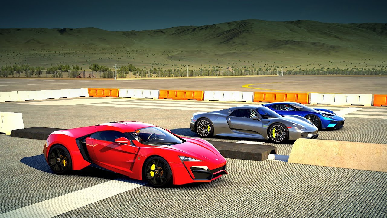 lykan hypersport vs porsche 918 spyder vs 2017 ford gt drag race forza 6 youtube. Black Bedroom Furniture Sets. Home Design Ideas