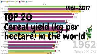 Top 20  Cereal yield (kg per hectare)  1961-2017