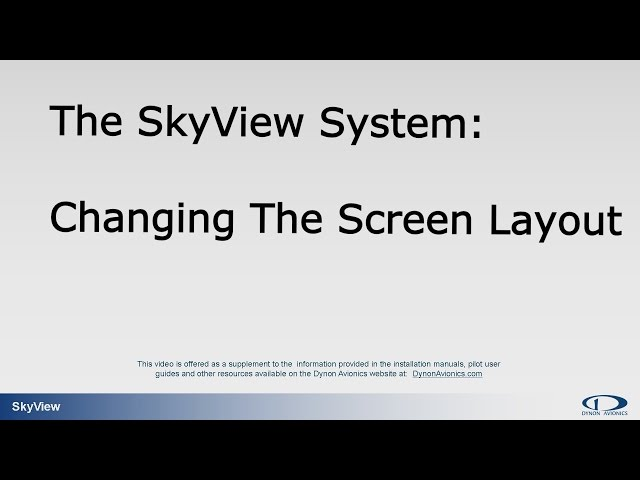 Changing the Screen Layout on a SkyView Display