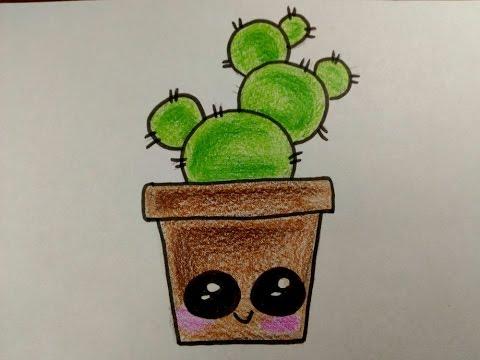 como desenhar um cacto fofo simples e facil youtube
