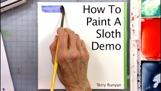 How To Paint A Sloth Watercolor Demo