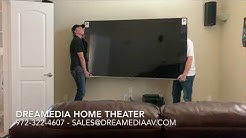 "Samsung 82"" Q6 QN82Q6F unboxing / wall mounting in Frisco Texas by Dreamedia"