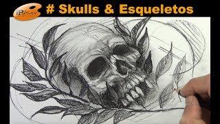 #Skulls - Caveira com folhas com lápis conté - Curso de Desenho IPStudio