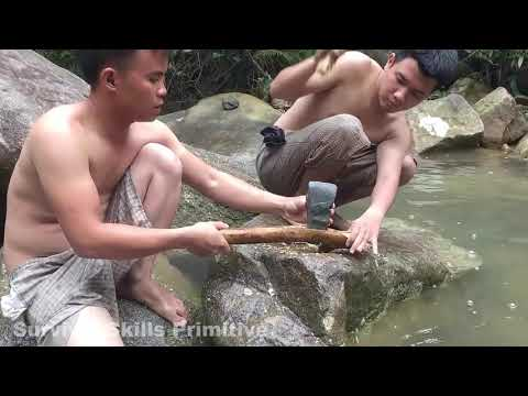 Primitive Technology  Survival Skills Stone Ax, Coconut Cutting