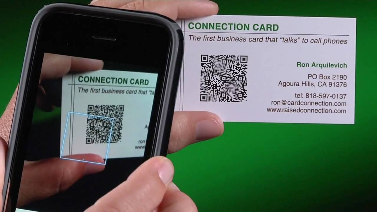 Qr code business cards youtube for Create qr code business card