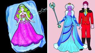 Học Làm Búp Bê Giấy - Trang phục Nữ hoàng Băng giá Cưới Hoàng tử Đẹp trai - Barbie Story & Crafts