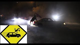 The homie gets hit by car doing Donuts!! / Insane Car Meet