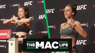 Zhang Weili and Joanna Jedrzejczyk make weight with ease at UFC 248 official weigh-ins