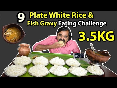 Record Breaking! 9 PLATE (8 lb) WHITE RICE & FISH GRAVY & CURD EATING CHALLENGE | Destroyed |