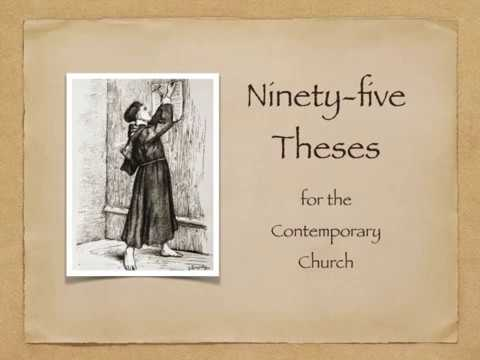 short summary of the ninety five theses These ninety-five theses set out a devastating critique of the church's sale of indulgences and explained the fundamentals of justification by grace alone luther also sent a copy of the theses archbishop albrecht of mainz calling on him to end the sale of indulgences.