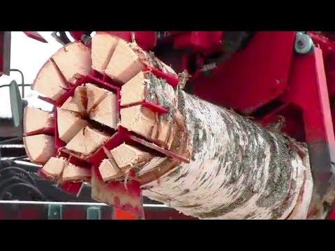 Amazing Moderm Wood Splitter Technology , Machine Cutting Tree flash Chainsaw Skill
