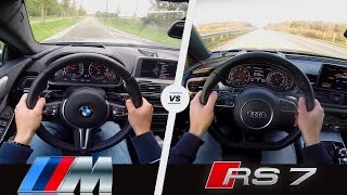 BMW M6 vs Audi RS7 |  Acceleration Sound & POV | Gran Coupe vs Sportback