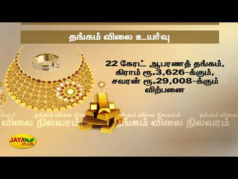 Gold price increases by Rs.40 per sovereign  தங்கம் விலை சவரனுக்கு ரூ.40 அதிகரிப்பு   Gold price #JayaPlus television is one among the foremost runner in Tamil News and media fields. Jaya plus comes under the whole brand of Jaya TV which includes four main stream channels. Jaya Plus live streams all major political happenings and current updates on a 24/7 basis daily. We cover recent updates of all genres like politics, media, movies, magazines with a policy of all under one roof. Apart from news we have talk shows and infotainment programmes like Achchum Asalum, Kelvigal Aayiram and Medhuva Pesunga.  Facebook - https://www.facebook.com/jayapluschannel/  Twitter - https://www.twitter.com/jayapluschannel  InstaGram - https://www.instagram.com/jayaplusnews/  Website - http://www.jayanewslive.com    Program Playlists :   Achum asalum - http://bit.ly/AchumAsalum  Medhuva Pesunga - https://www.youtube.com/playlist?list=PLeimZv3JlrlhTJ-LUI86bLKz2k2jBqwGW  Kelvigal Aayiram - https://www.youtube.com/playlist?list=PLeimZv3Jlrliz19ZEWCbx1IX8MRUndTk3  Makkal Manasu - https://www.youtube.com/playlist?list=PLeimZv3JlrliLJ6bdEmJ1QjyAd_bYR7qU  Special Stories - https://www.youtube.com/playlist?list=PLeimZv3Jlrli-sC79IKBT4esNoYVDO_Oh