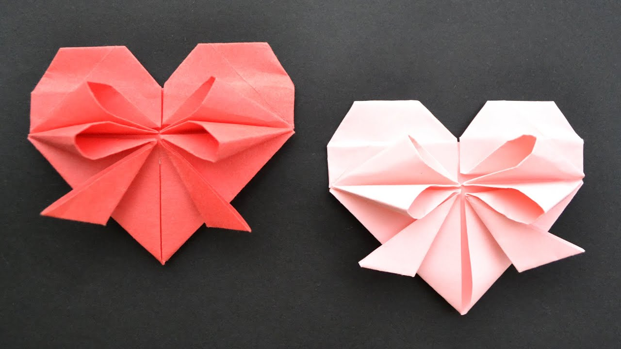 Cute Paper Heart With Bow Easy Origami Tutorial Diy Youtube Origami Easy Cute Origami Origami Tutorial Easy