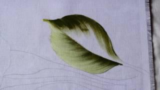 Pintura em tecido – Copo de leite (caule e folha) parte 1