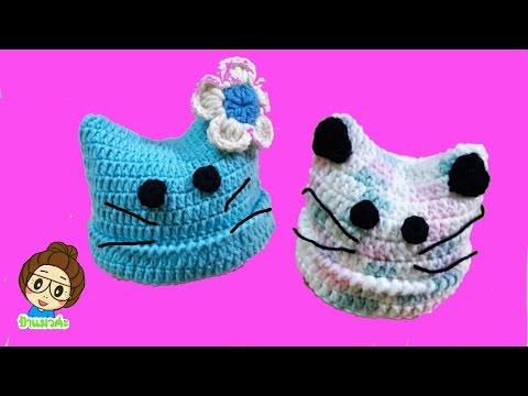ถักหมวกไหมพรมมีหูโครเชต์ไหมสำลีสำหรับเด็กอ่อน How to Crochet A Baby Hat