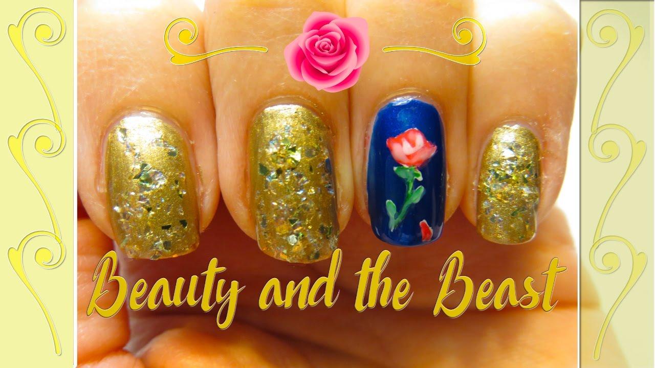Disney Inspired Nail Art - DIY Beauty and the Beast Nail ...