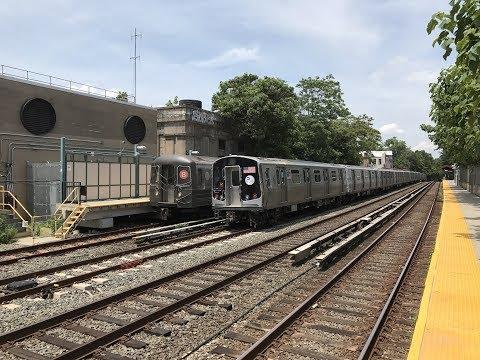 NYC Subway HD 60fps: R160A/R160B Q Trains & R68/R68A B Trains w/ R179 @ Avenue H (6/29/17)