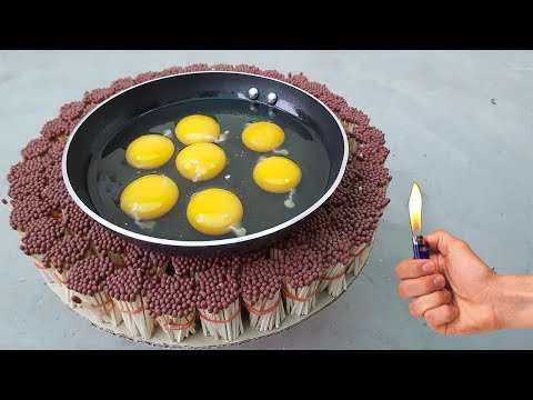 EGGS Vs safety match     Fried eggs on match
