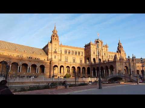 2013 España   Andalucia, Sevilla, Plaza de España, Coucher du Soleil, Palais et Ponts, à Noël à Vélo