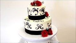 Wedding cake in Black and Red - Two Tier Wedding Cake