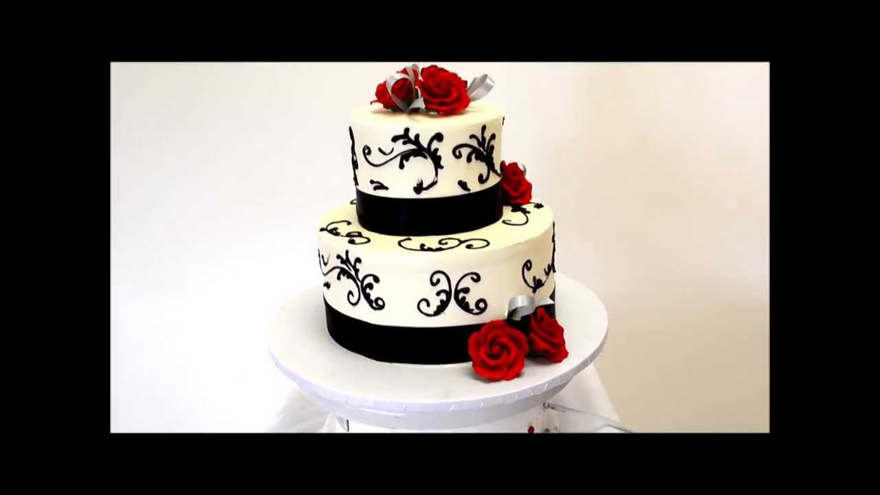 Wedding cake in Black and Red - Two Tier Wedding Cake - YouTube