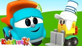 Trucks Learn Colors! - Leo Junior Paints Lifty Loader (Kid's 3D Coloring Cartoons)
