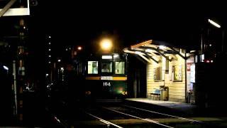 夜の阪堺線天神ノ森電停