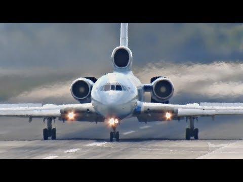"""Ту-154 пилот мощно """"притёр"""" самолет к полосе"""