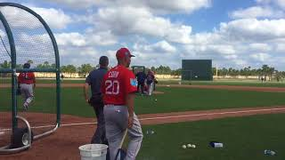 Joe Kelly, Red Sox reliever, struck with line drive off Brock Holt's bat during live BP (Feb. 21,...