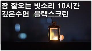 Rain falling on a steel plate - lamp night  ,Black screen ,10 hours