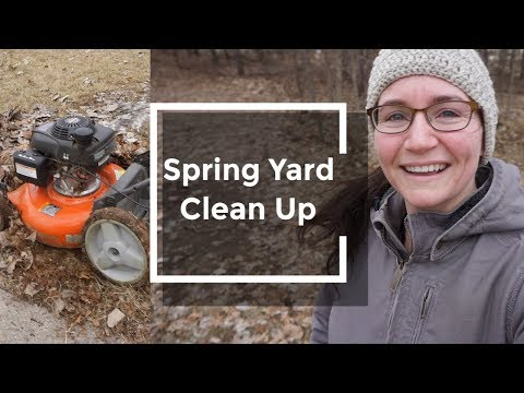 Spring Yard Clean Up Vlog - Mulching leaves - The Up North Home
