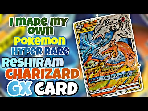 I make a Charizard💥 and Reshiram🔥GX hyper rare Pokemon Card (catch the play).