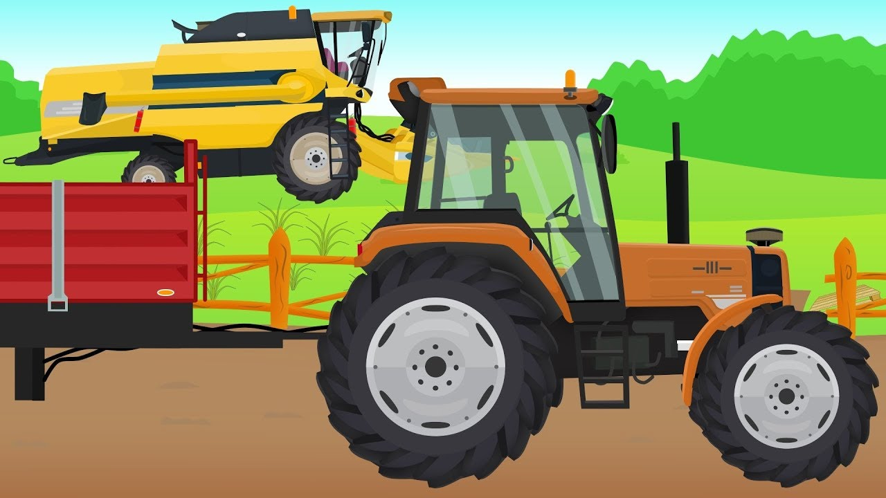 Extra Tractor and Yellow Combine Harvester