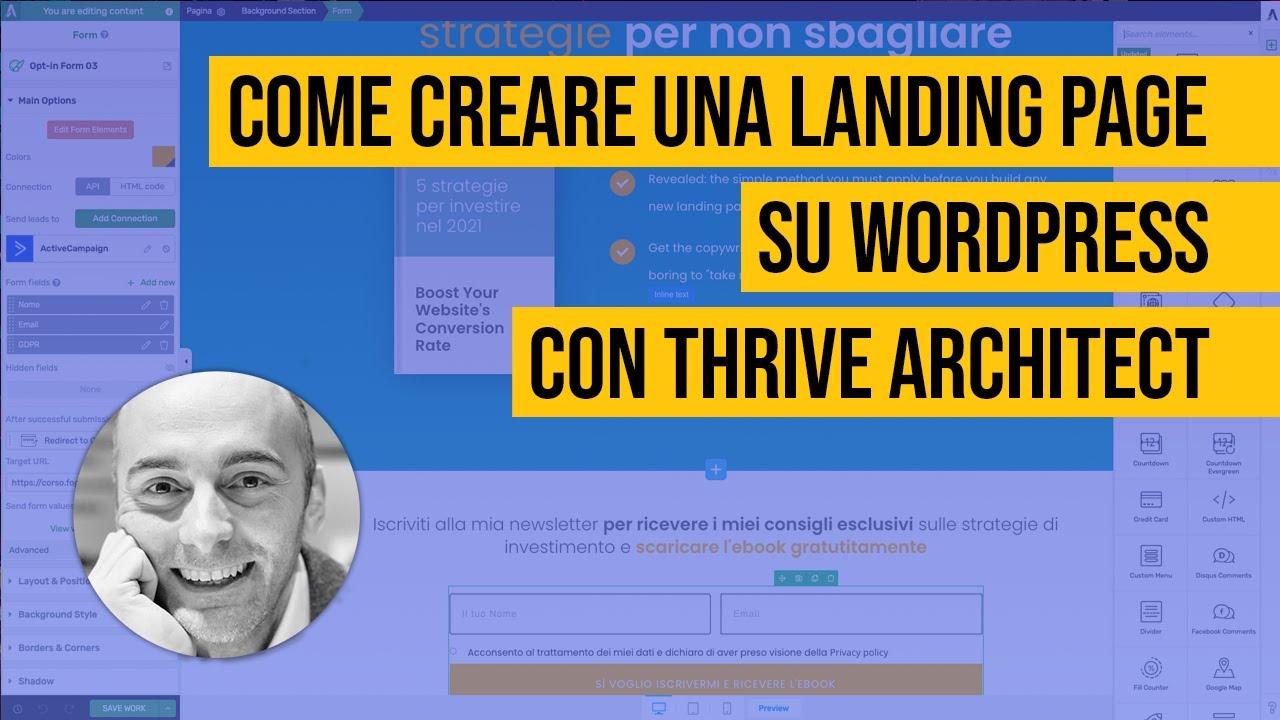 Creare landing page su WordPress con Thrive Architect