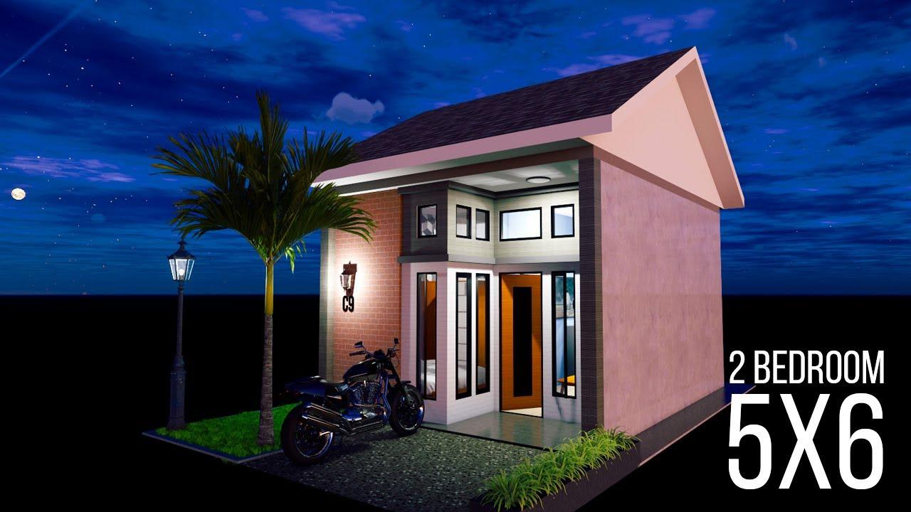 5x6 HOME DESIGN IDEAS, RUMAH MINIMALIS 2 KAMAR TIDUR - YouTube