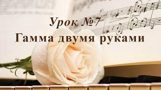 Урок 7.  Гамма двумя руками. Уроки музыки