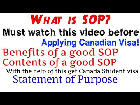 What is SOP Must Watch This Video Before applying Canadian Visa