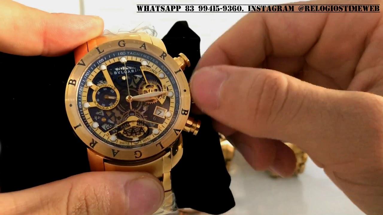 Review Relógio bvlgari bulgari esqueleto ouro todo funcional - YouTube 02b63c7583
