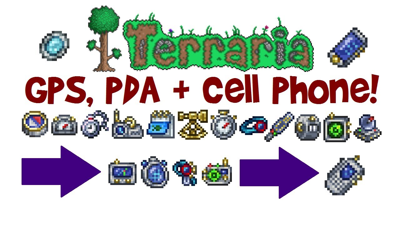 Terraria Gps Pda Cell Phone Crafting Guide How To Get
