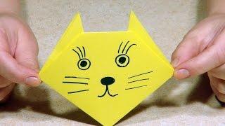 Простые поделки оригами для детей. Простой себе такой Оригами Кот.