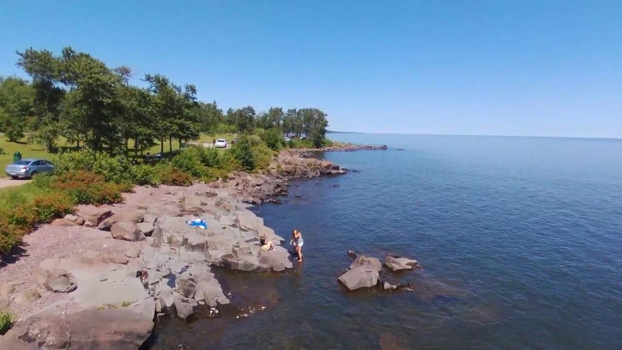 Brighton Beach In Duluth Minnesota Drone Video