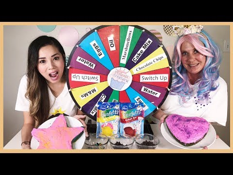 Mystery Wheel of Cake Challenge SWITCH UP with Sparkles the Unicorn and Princess ToysReview