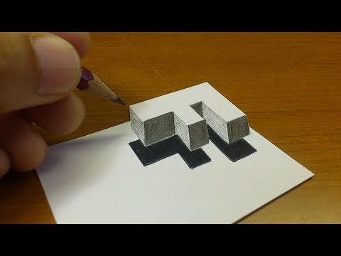 "Very Easy!! How To Drawing 3D Floating Letter ""F""  - Anamorphic Illusion - 3D Trick Art on paper"
