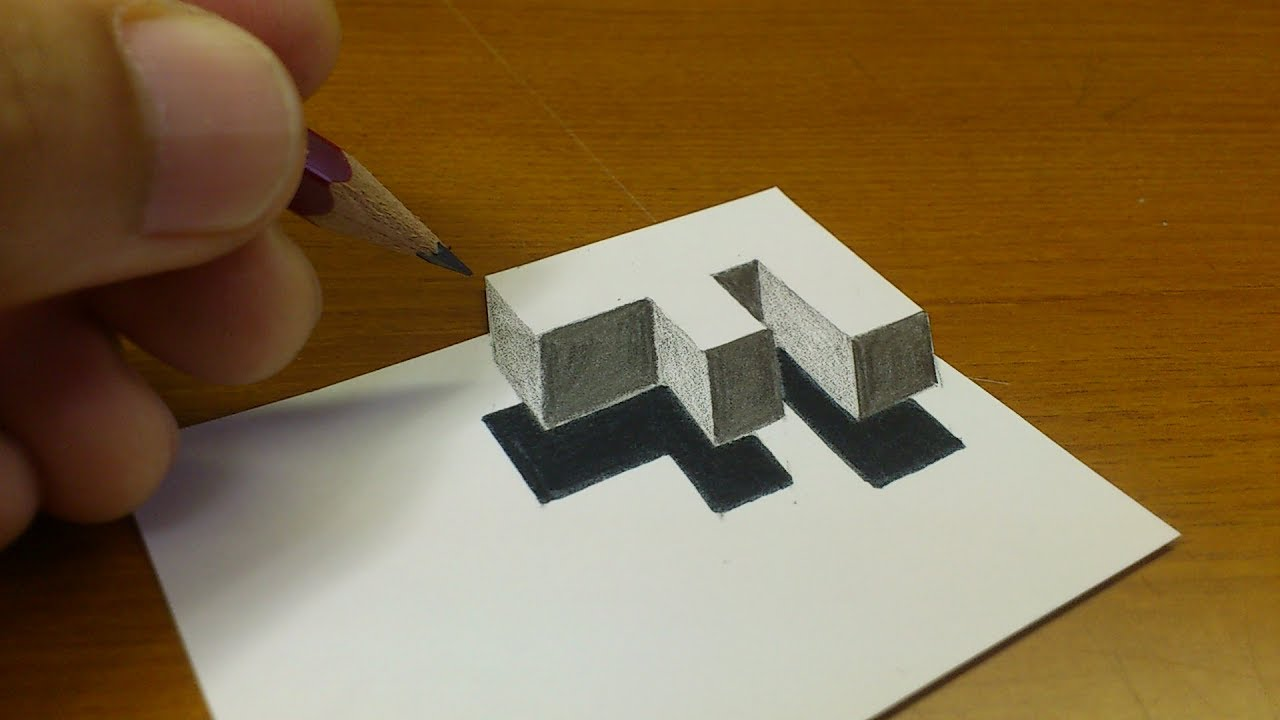 Very Easy How To Drawing 3d Floating Letter F