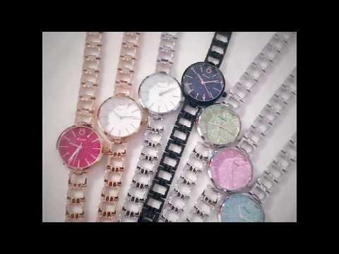 Fashion Women Quartz Movement Mineral Tempered Glass Mirror Alloy Case Watches