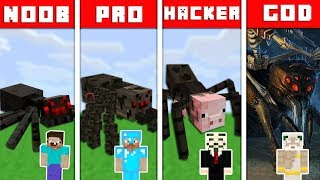 Minecraft Battle NOOB vs PRO vs HACKER vs GOD : SPIDER MUTANT CHALLENGE in Minecraft