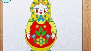 How to draw Matryoshka (Russian Doll)