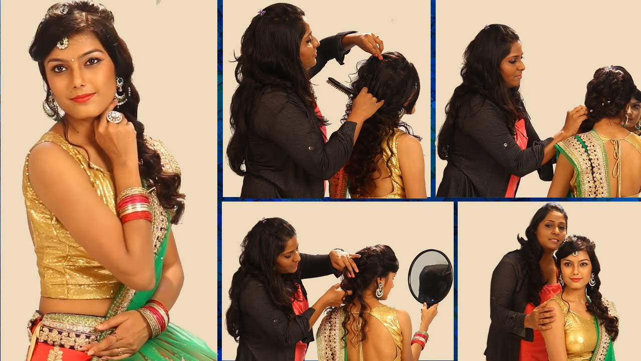 simple indian bridal hairstyle - floral curls wedding hairstyle