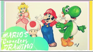 MARIO, PEACH, TOAD & YOSHI DRAWING - FAMILY GAMING